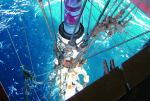Drilling with a sixth generation semi-sub in shallow water