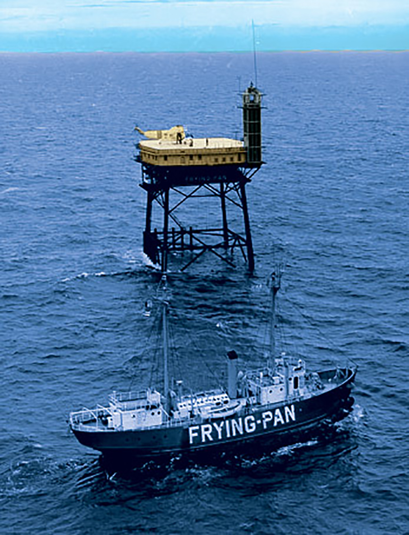 Frying pan tower platform with frying pan support vessel shown
