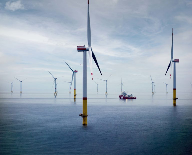 Big Offshore wind-farm with transfer vessel
