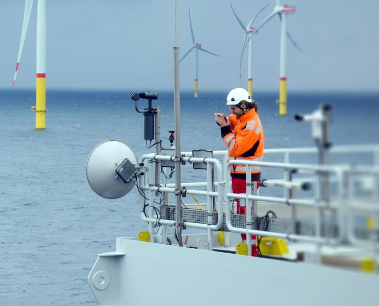 Electrician making inspection of telecommunication and Athena on offshore platform